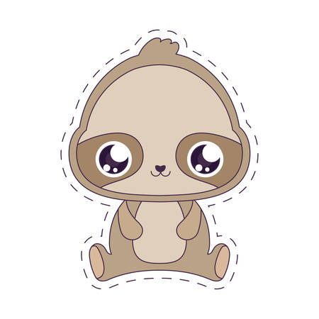 sloth cartoon design, Kawaii expression cute character funny and emoticon theme Vector illustration