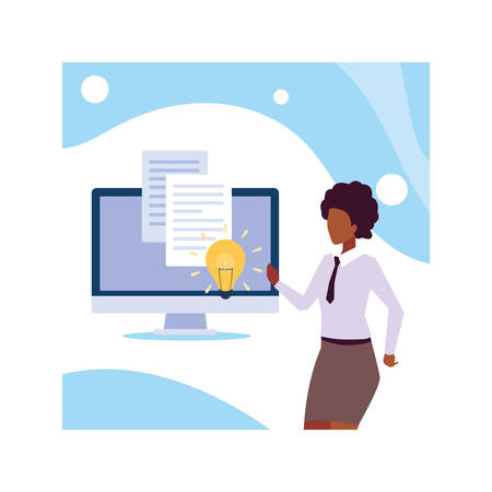 businesswoman standing, planning and marketing research, business professional woman vector illustration design