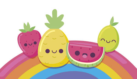 lemon pineapple watermelon and strawberry cartoon design, Kawaii expression cute character funny and emoticon theme Vector illustration Ilustracja