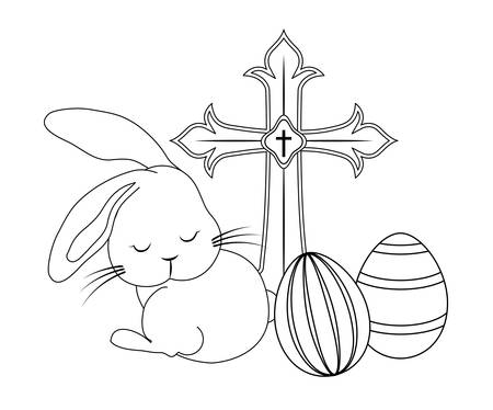 cute rabbit with catholic cross and eggs of easter vector illustration design Çizim