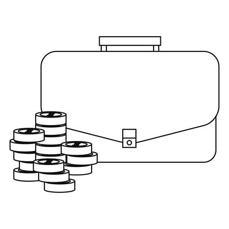 business suitcase coins stacked economy vector illustration