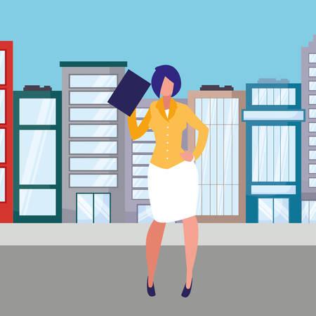 avatar businesswoman icon over white background, vector illustration Çizim