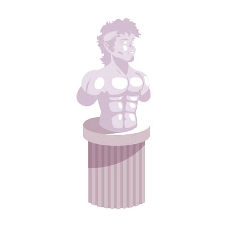 man body sculpture, art gallery on white background vector illustration design