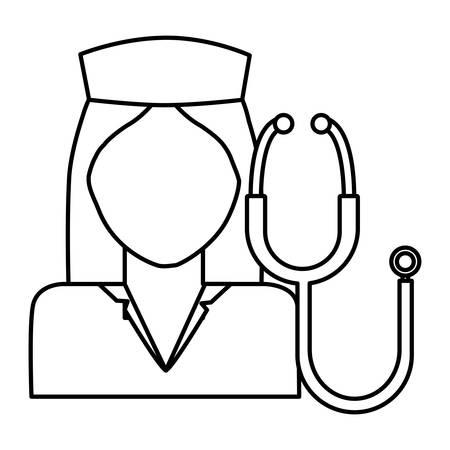 nurse professional with stethoscope character vector illustration design Çizim