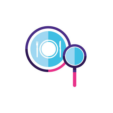 search magnifying glass with restaurant app vector illustration design