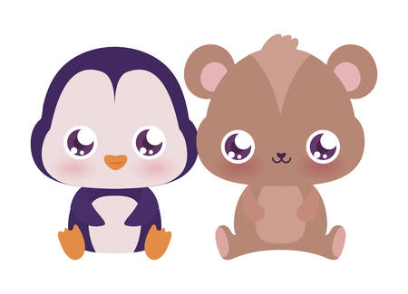 penguin and bear cartoons design, Kawaii animals expression cute character funny and emoticon theme Vector illustration Ilustracja