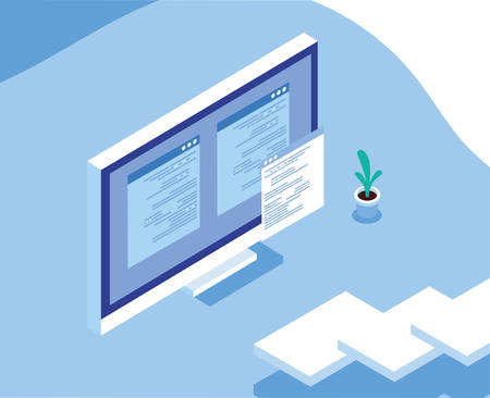 desktop computer screen with social network profile vector illustration design