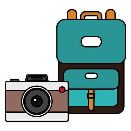 suitcase travel with camera photographic vector illustration design Ilustrace