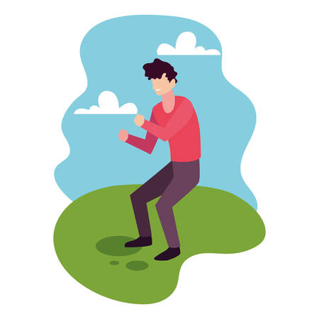 man in pose of dancing in landscape background vector illustration design