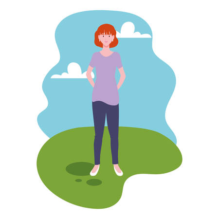 young woman standing with landscape background vector illustration design Çizim