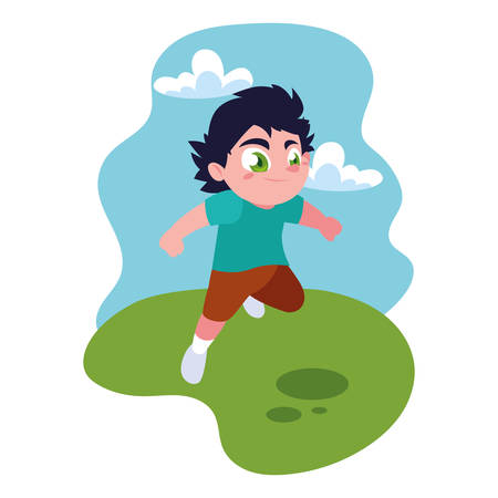 boy smiling and playing outdoors vector illustration design Иллюстрация