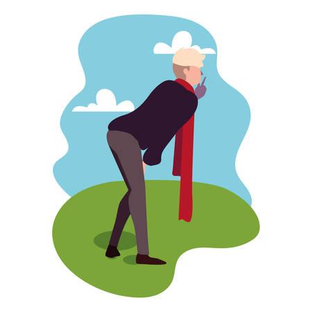 young man of back position on background landscape vector illustration design Çizim