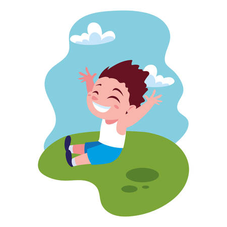 boy smiling and playing outdoors vector illustration design Фото со стока - 137973673