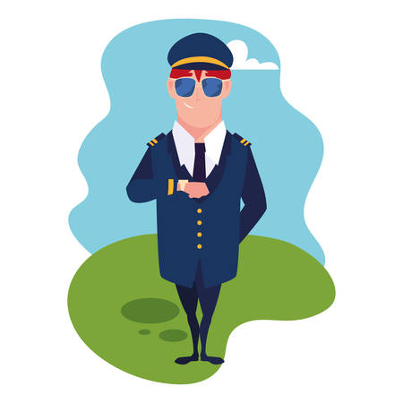 man airplane pilot standing with background landscape vector illustration design Çizim
