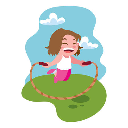 girl smiling and playing with skipping rope vector illustration design