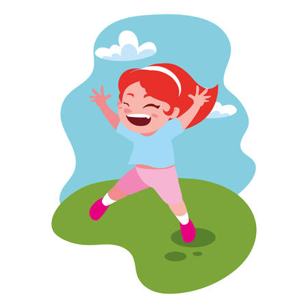 cute girl smiling and playing outdoors vector illustration design