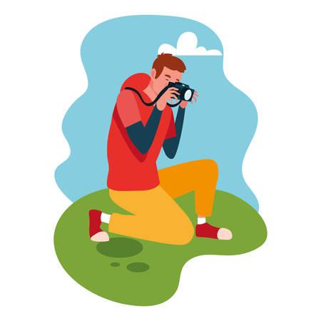 man taking a photo with background landscape vector illustration design Ilustração