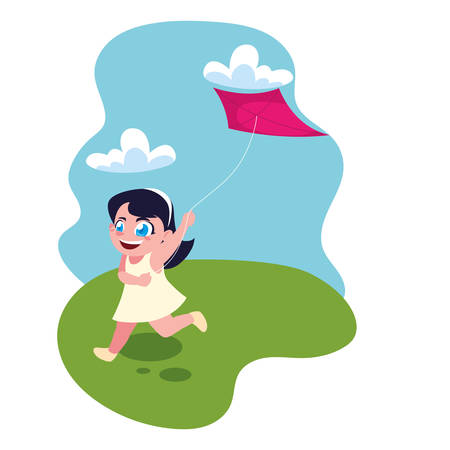 girl smiling and playing with a kite vector illustration design Фото со стока - 137996868