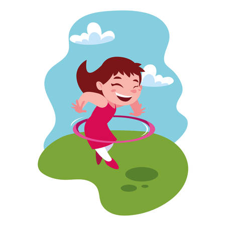 girl smiling and playing vector illustration design