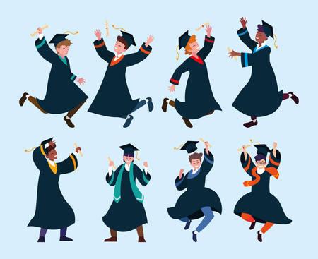set of people students, university graduation vector illustration design Ilustracja