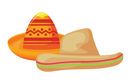 set hats mexican isolated icon vector illustration design Ilustrace