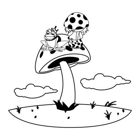 toad prince and fungu elf in garden vector illustration design Standard-Bild - 137997527