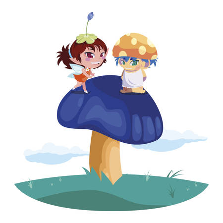 beautiful magic fairy and fungu elf in the garden vector illustration design Standard-Bild - 138002877