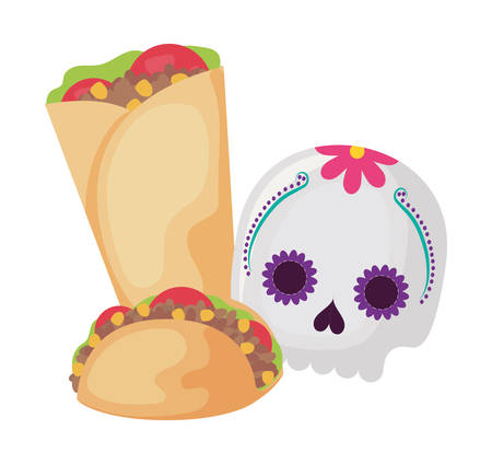 skull with food traditional mexican isolated icon vector illustration design Фото со стока - 138002904