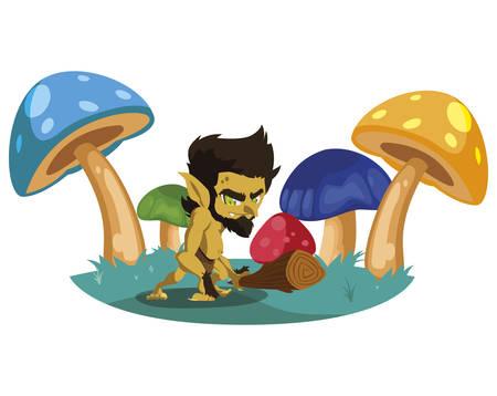 caveman gnome in the camp magic character vector illustration design Standard-Bild - 138004683