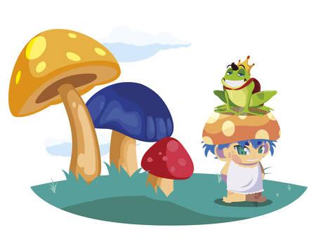 toad prince and fungu elf in garden vector illustration design Standard-Bild - 138004693