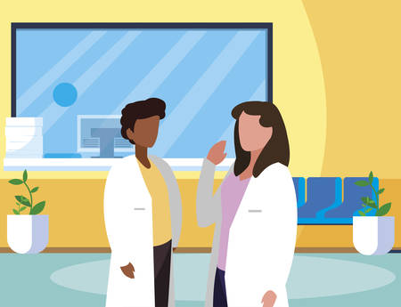 interracial couple medicine workers in clinic reception vector illustration