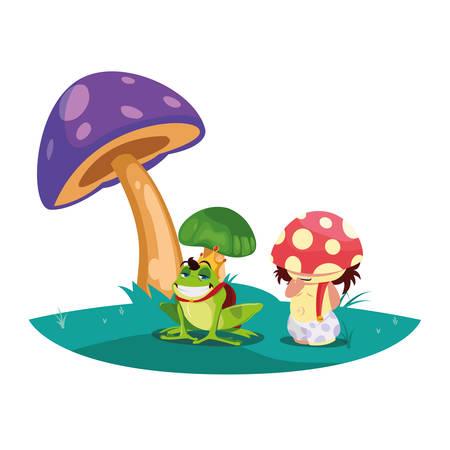 toad prince and fungu elf in garden vector illustration design Standard-Bild - 138004748