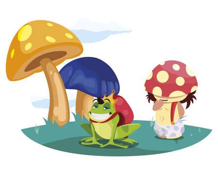 toad prince and fungu elf in garden vector illustration design Standard-Bild - 138004759