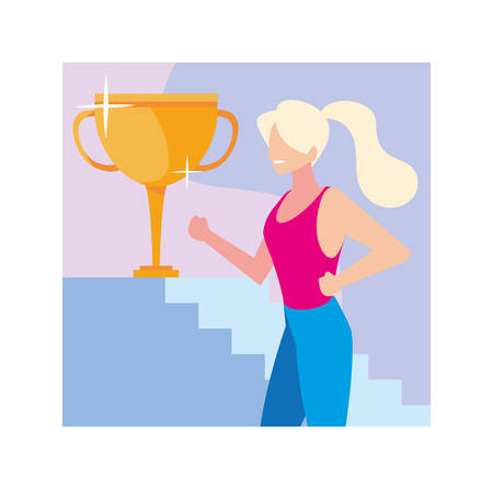 young woman with gold trophy vector illustration design Illusztráció