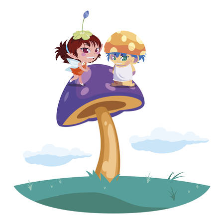 beautiful magic fairy and fungu elf in the garden vector illustration design Standard-Bild - 138004985