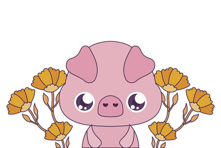 pig cartoon with flowers design, Kawaii expression cute character funny and emoticon theme Vector illustration