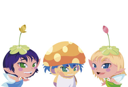 beautiful magic fairies with fungu elf characters vector illustration design Standard-Bild - 138021782