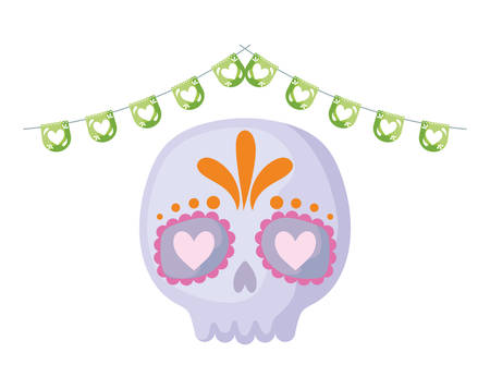 skull with garlands mexican hanging isolated icon vector illustration design Фото со стока - 138021794