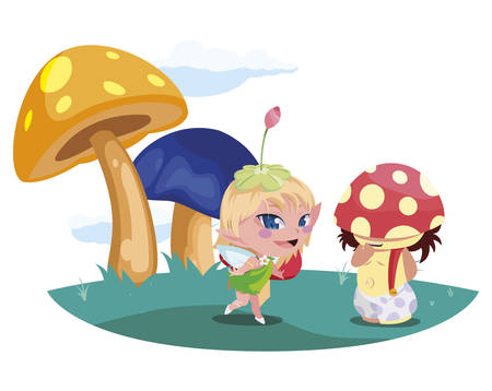 beautiful magic fairy and fungu elf in the garden vector illustration design Standard-Bild - 138021882