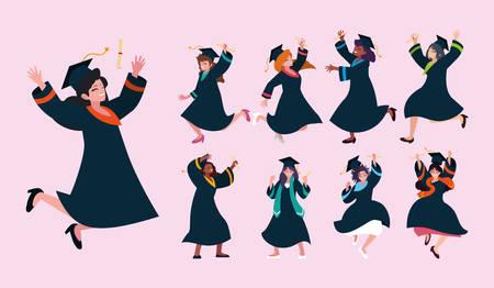 set of woman students, university graduation vector illustration design