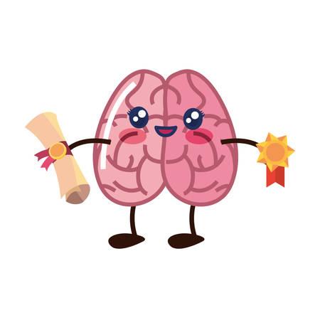 brain cartoon education diploma medal vector illustration