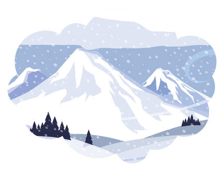 mountains with forest pines snowscape scene vector illustration design 일러스트