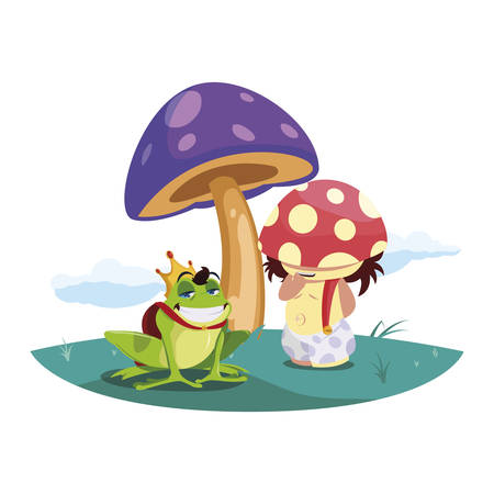 toad prince and fungu elf in garden vector illustration design Standard-Bild - 138022260