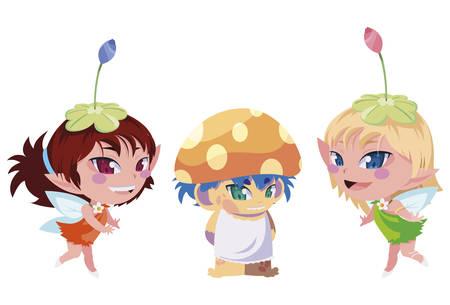 beautiful magic fairies with fungu elf characters vector illustration design Standard-Bild - 138022326