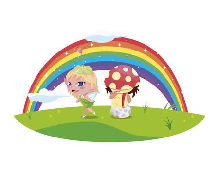 beautiful magic fairy and fungu elf with rainbow scene vector illustration design