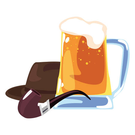 hat beer tobacco pipe happy fathers day vector illustration Illustration