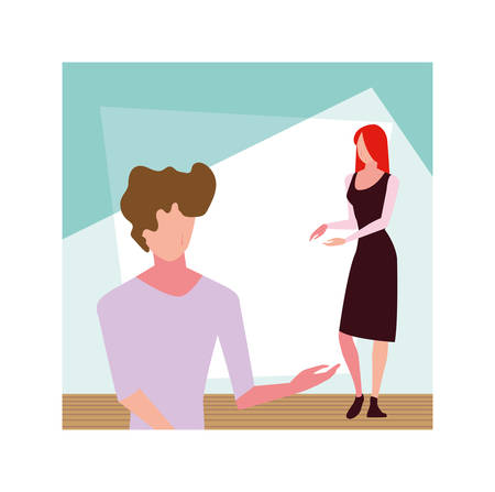 couple of people faceless standing vector illustration design