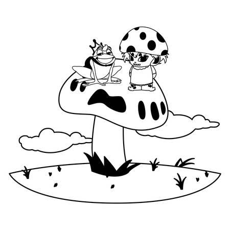 toad prince and fungu elf in garden vector illustration design Standard-Bild - 138022679