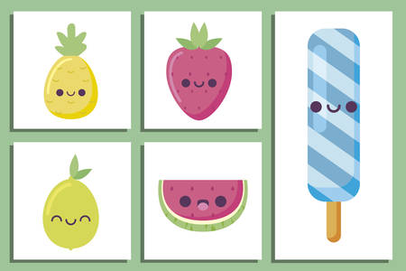ICe pops and fruits cartoons design, Kawaii expression cute character funny and emoticon theme Vector illustration
