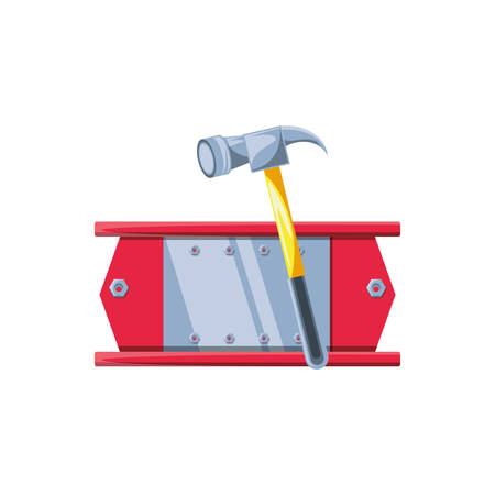 metal construction beam with hammer tool vector illustration design Illusztráció